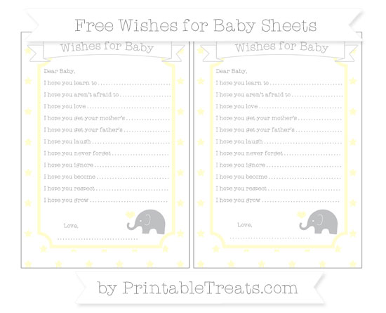 Free Cream Star Pattern Baby Elephant Wishes for Baby Sheets