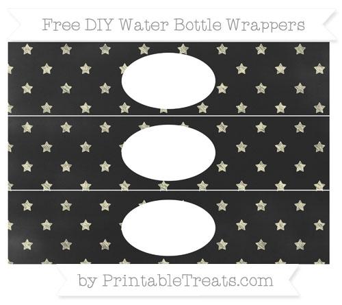 Free Cream Star Pattern Chalk Style DIY Water Bottle Wrappers