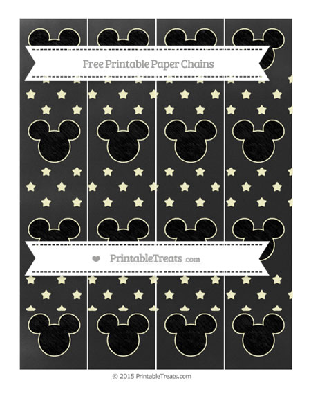 Free Cream Star Pattern Chalk Style Mickey Mouse Paper Chains