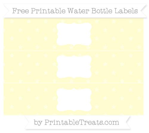 Free Cream Star Pattern Water Bottle Labels