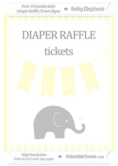 Free Cream Striped Baby Elephant 8x10 Diaper Raffle Ticket Sign