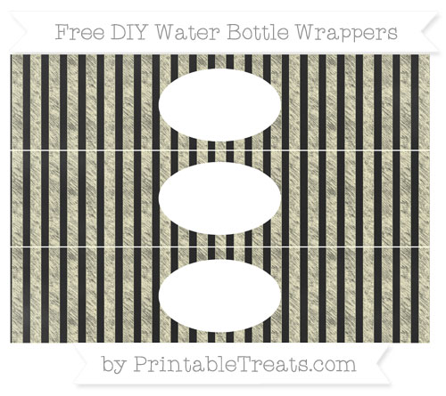 Free Cream Striped Chalk Style DIY Water Bottle Wrappers