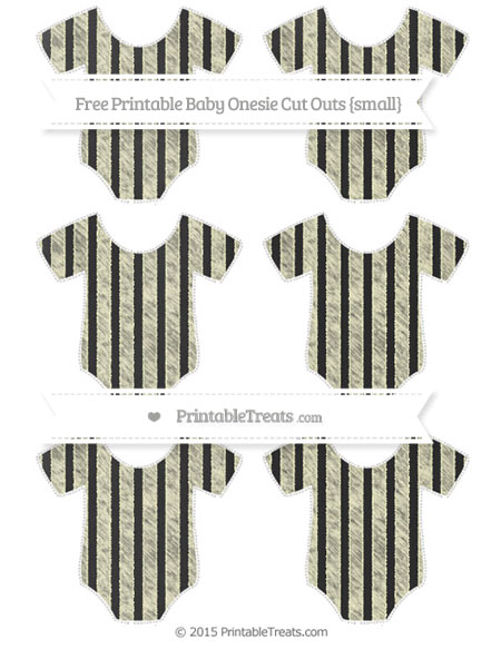 Free Cream Striped Chalk Style Small Baby Onesie Cut Outs