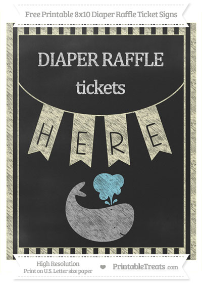 Free Cream Striped Chalk Style Whale 8x10 Diaper Raffle Ticket Sign