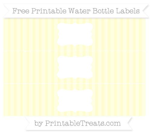 Free Cream Striped Water Bottle Labels