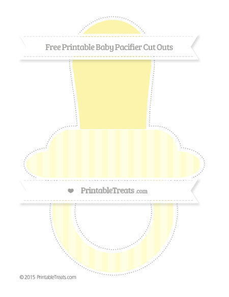Free Cream Striped Extra Large Baby Pacifier Cut Outs