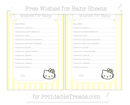 Free Cream Striped Hello Kitty Wishes for Baby Sheets
