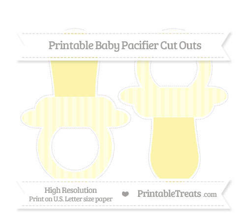 Free Cream Striped Large Baby Pacifier Cut Outs