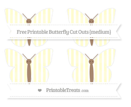 Free Cream Striped Medium Butterfly Cut Outs