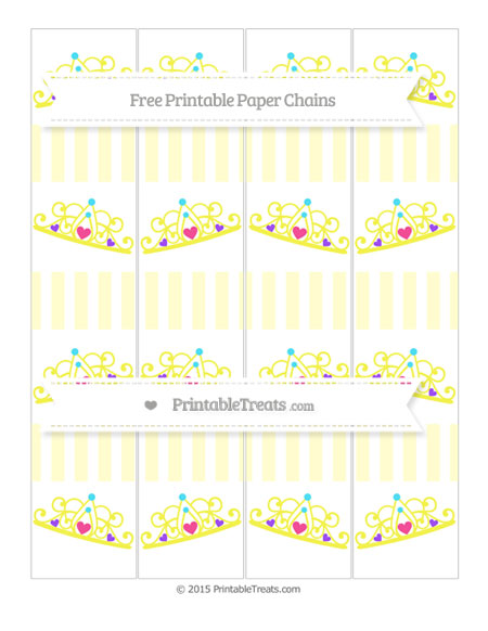 Free Cream Striped Princess Tiara Paper Chains