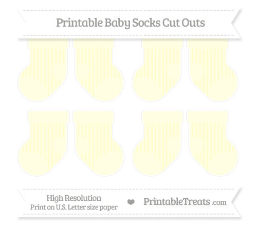 Free Cream Striped Small Baby Socks Cut Outs