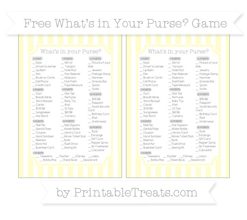 Free Cream Striped What's in Your Purse Baby Shower Game