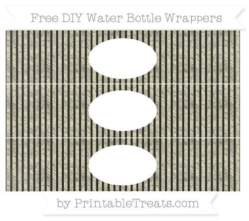 Free Cream Thin Striped Pattern Chalk Style DIY Water Bottle Wrappers