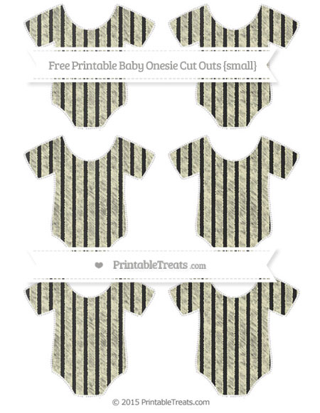 Free Cream Thin Striped Pattern Chalk Style Small Baby Onesie Cut Outs