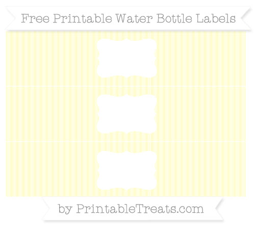 Free Cream Thin Striped Pattern Water Bottle Labels