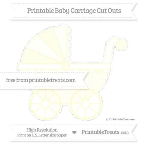 Free Cream Thin Striped Pattern Extra Large Baby Carriage Cut Outs
