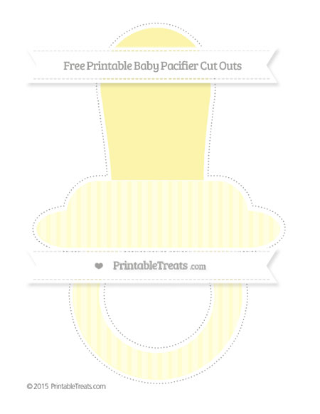Free Cream Thin Striped Pattern Extra Large Baby Pacifier Cut Outs