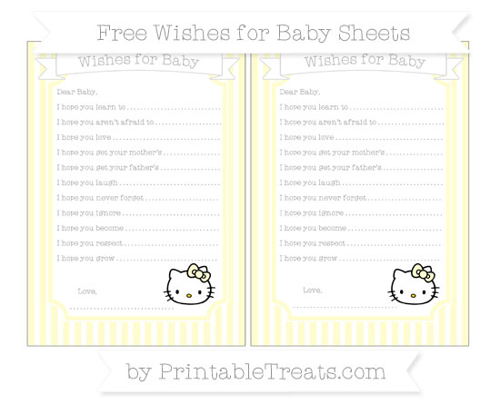 Free Cream Thin Striped Pattern Hello Kitty Wishes for Baby Sheets