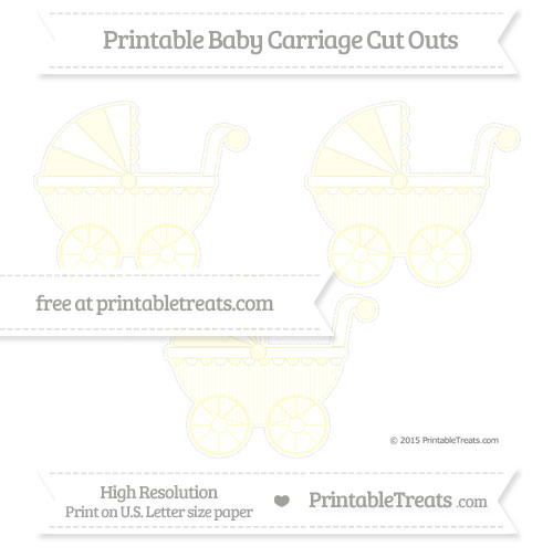 Free Cream Thin Striped Pattern Medium Baby Carriage Cut Outs
