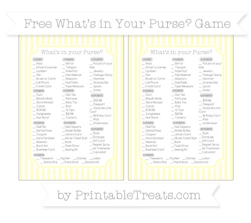 Free Cream Thin Striped Pattern What's in Your Purse Baby Shower Game