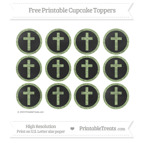 Free Cross Cupcake Toppers with Pastel Light Green Chalk