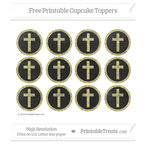 Free Cross Cupcake Toppers with Pastel Yellow Chalk