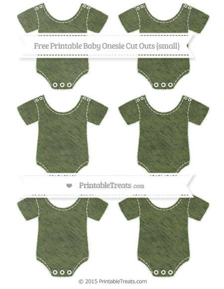 Free Dark Olive Green Chalk Style Small Baby Onesie Cut Outs