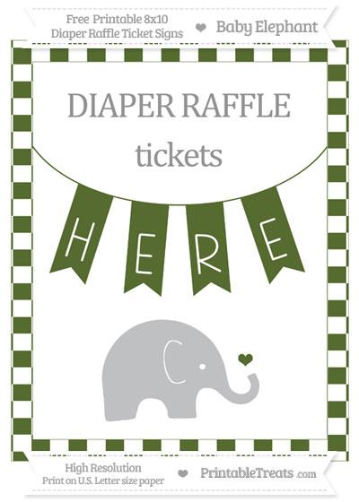 Free Dark Olive Green Checker Pattern Baby Elephant 8x10 Diaper Raffle Ticket Sign