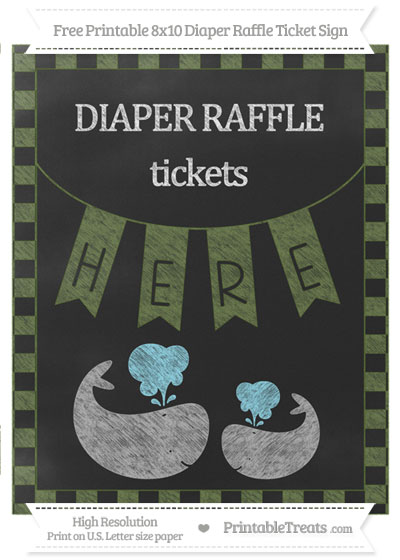 Free Dark Olive Green Checker Pattern Chalk Style Baby Whale 8x10 Diaper Raffle Ticket Sign