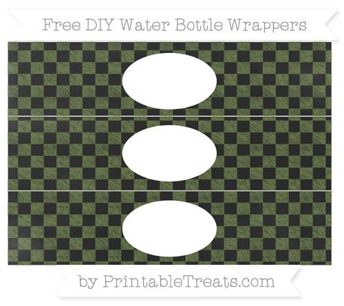 Free Dark Olive Green Checker Pattern Chalk Style DIY Water Bottle Wrappers