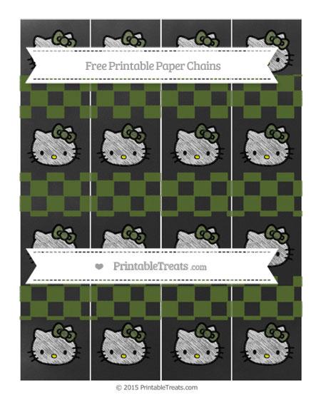 Free Dark Olive Green Checker Pattern Chalk Style Hello Kitty Paper Chains