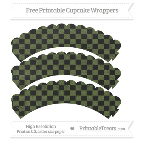Free Dark Olive Green Checker Pattern Chalk Style Scalloped Cupcake Wrappers