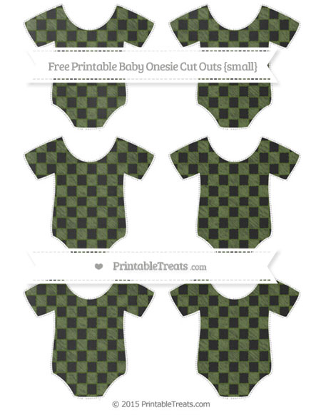 Free Dark Olive Green Checker Pattern Chalk Style Small Baby Onesie Cut Outs