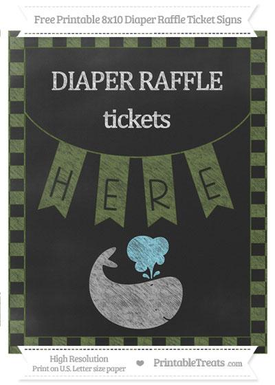Free Dark Olive Green Checker Pattern Chalk Style Whale 8x10 Diaper Raffle Ticket Sign