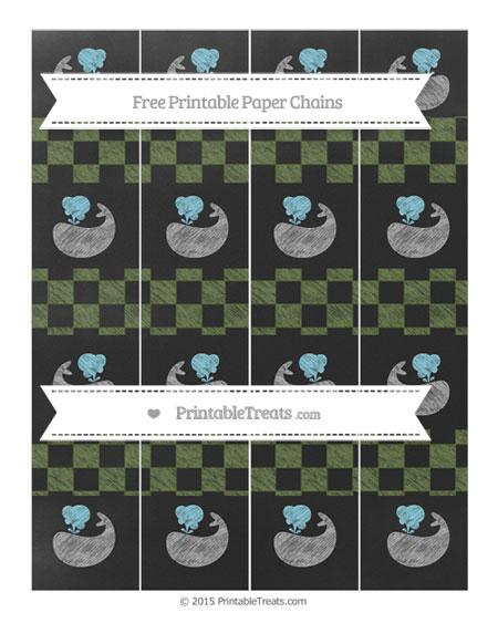 Free Dark Olive Green Checker Pattern Chalk Style Whale Paper Chains
