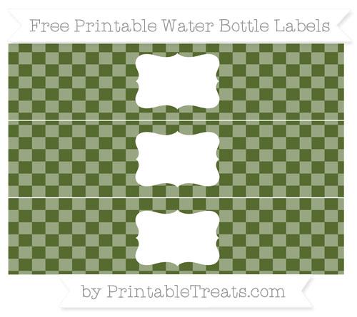 Free Dark Olive Green Checker Pattern Water Bottle Labels