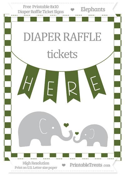 Free Dark Olive Green Checker Pattern Elephant 8x10 Diaper Raffle Ticket Sign