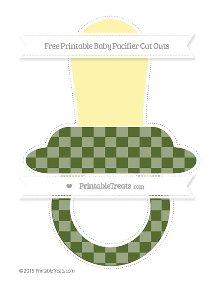 Free Dark Olive Green Checker Pattern Extra Large Baby Pacifier Cut Outs