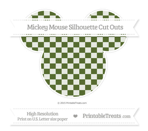 Free Dark Olive Green Checker Pattern Extra Large Mickey Mouse Silhouette Cut Outs
