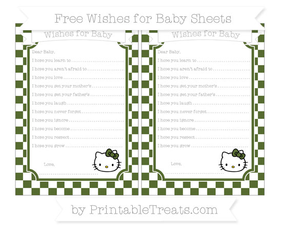 Free Dark Olive Green Checker Pattern Hello Kitty Wishes for Baby Sheets