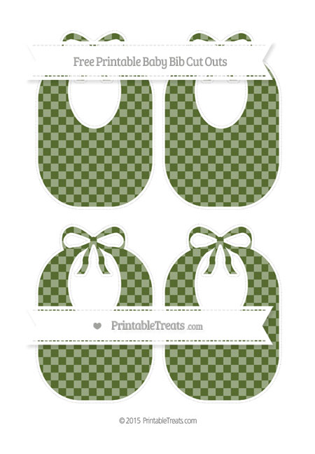 Free Dark Olive Green Checker Pattern Medium Baby Bib Cut Outs