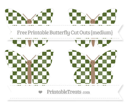 Free Dark Olive Green Checker Pattern Medium Butterfly Cut Outs