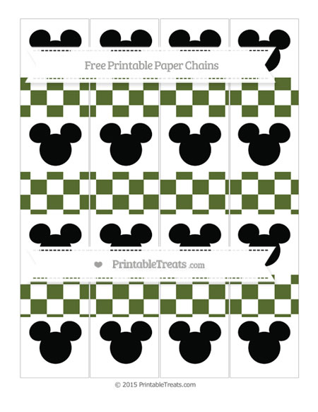 Free Dark Olive Green Checker Pattern Mickey Mouse Paper Chains