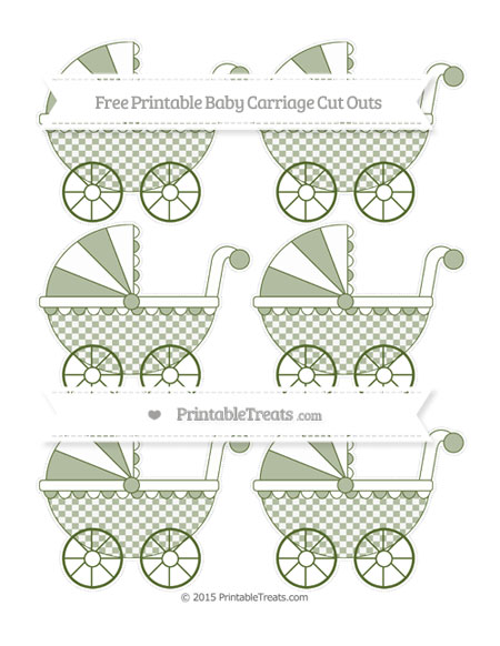 Free Dark Olive Green Checker Pattern Small Baby Carriage Cut Outs
