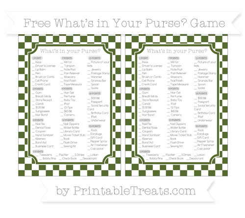 Free Dark Olive Green Checker Pattern What's in Your Purse Baby Shower Game