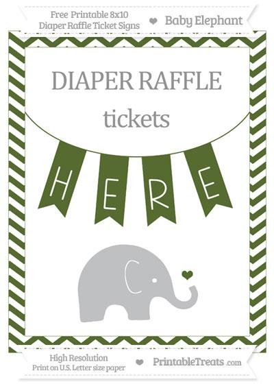 Free Dark Olive Green Chevron Baby Elephant 8x10 Diaper Raffle Ticket Sign