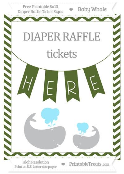 Free Dark Olive Green Chevron Baby Whale 8x10 Diaper Raffle Ticket Sign