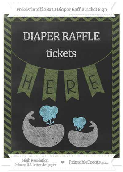 Free Dark Olive Green Chevron Chalk Style Baby Whale 8x10 Diaper Raffle Ticket Sign
