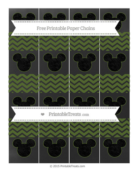 Free Dark Olive Green Chevron Chalk Style Mickey Mouse Paper Chains
