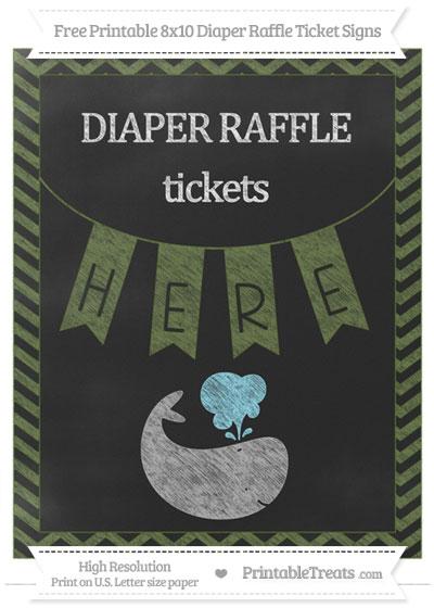 Free Dark Olive Green Chevron Chalk Style Whale 8x10 Diaper Raffle Ticket Sign